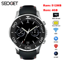 SEOGET MTK6572 Android 5.1 OS GPS Smart Watch Phone With 2.0 MP Camera support Wifi 3G SIM card smartwatch wristwatch mens(China)