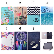 fashion print leather case for samsung galaxy tab A 9.7 SM-T555 T550 9.7'' tablet cover case +screen protector film+free