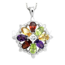 Flower necklace pendant Free shipping Natural amethyst,citrine,peridot garnet 925 sterling silver 0.5ct*8pcs gems #16083007