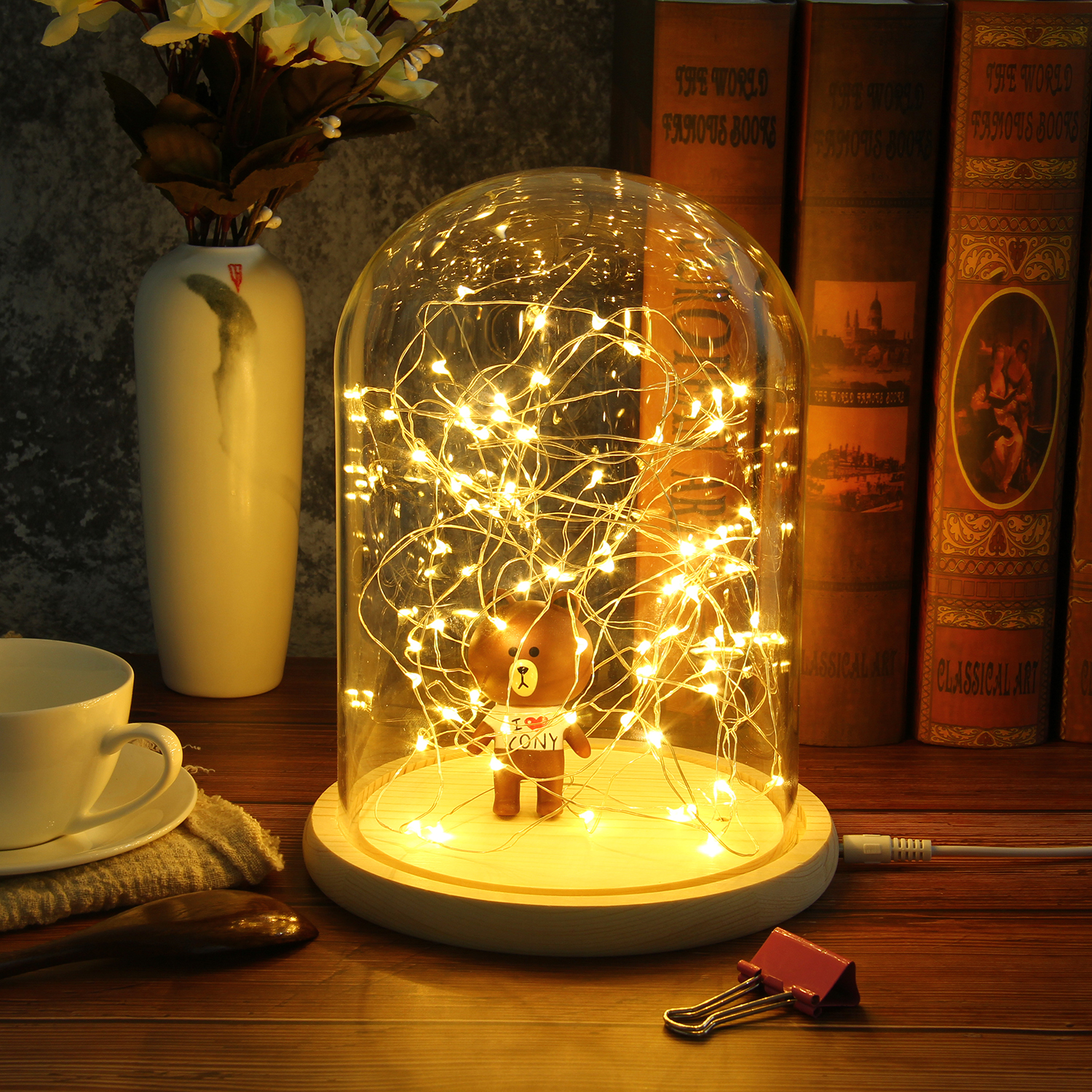 Creative Glass Dome Bell Jar Display Wooden Base with LED Light Warm Fairy Starry String Lights Desk Ornament for Home Decor 11