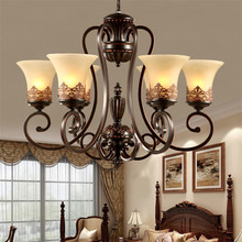 High-quality American Sytle Retro Chandelier,Lustres 3/5/6/8 Arm Bedroom Living Room Chandelier Lighting with Glass Lampsha