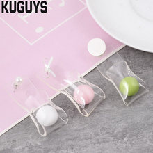 KUGUYS Fashion Acrylic Jewelry Custom Womens Trendy 3 Color Bead Large Drop Earrings Transparent Long Dangle Earring Girl's Gift(China)