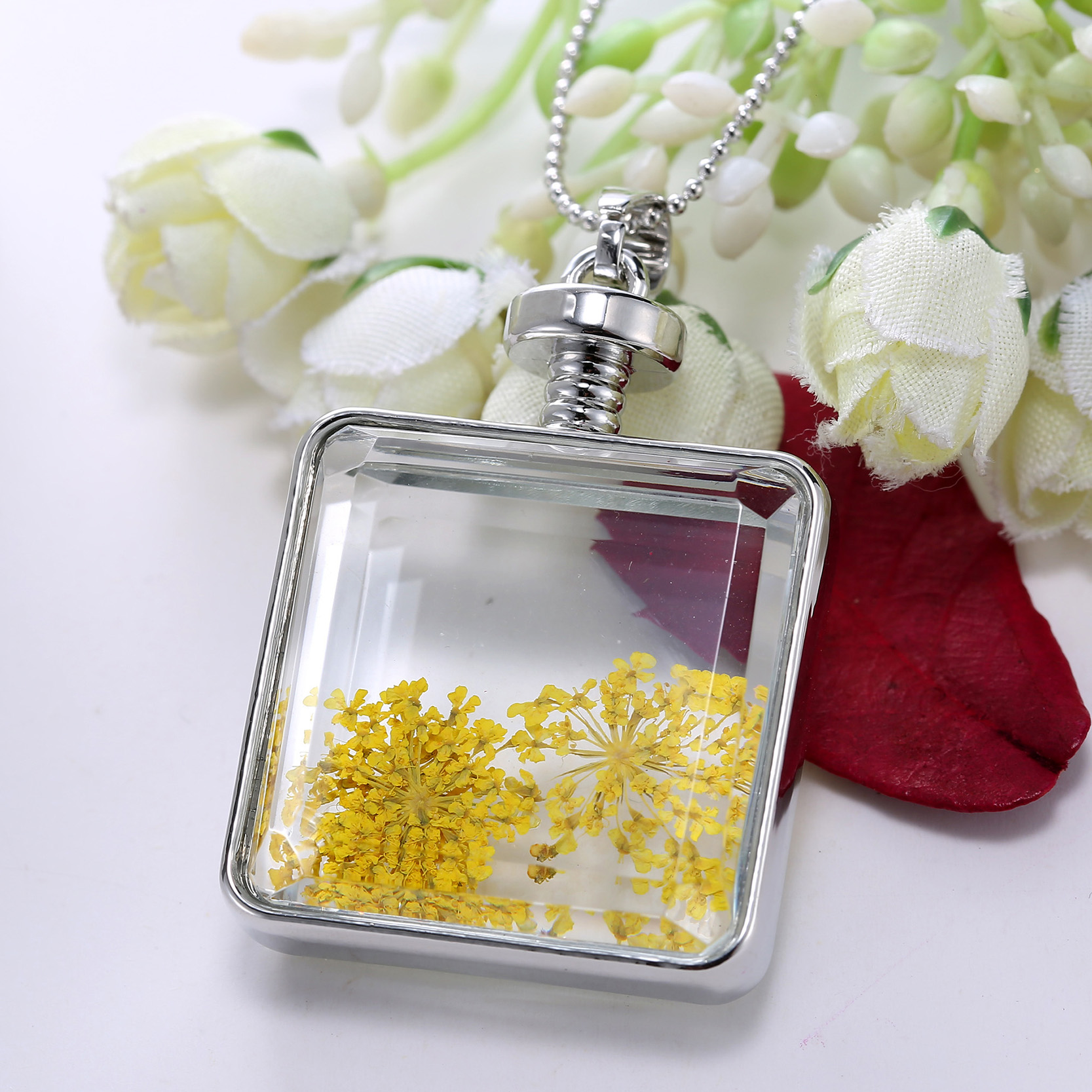 *dried Flowers Vintage Long Chain Crystal Square Pendant Necklace*