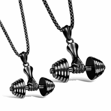 Men's Stainless Steel Dumbbell Pendant Necklaces Black Men Jewelry Necklace 2017 Fashion Gifts Fitness Barbell Jewellery Colar(China)