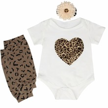 2017 Spring 3pcs Newborn Kids Baby Girl Love Heart  Romper+Leg Warmer+Flower Headband Clothes Outfit Set 0-24M
