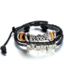 2017 Charm Bangle Punk Multilayer Europe Retro Patterns Spike Leather Braided Cuff Bracelet Men Male Bracelets & bangles(China)