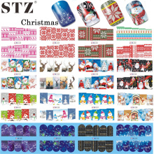 STZ 48 Sheets 2017 Christmas Designs Snowflakes Xmas Tips Nail Art Sticker Sets Decorations Watermark for New Year BN205-252