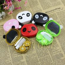 Mini Outdoor Panda Shape 2017 New Cute Style Pocket Mini Contact Lens Case Travel Kit Easy Carry Mirror Container Drop Shipping