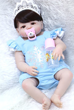 "22"" real full silicone bebe girl reborn can enter water kids bathe doll play house toys newborn baby bonecas with pacifier(China)"