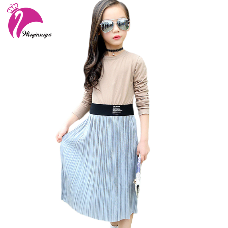 Brand Children Clothing Patchwork Baby Girls Dress Teenage Cotton Waistband Long Dress Bohemian Style Autumn Winter Kids Clothes<br>