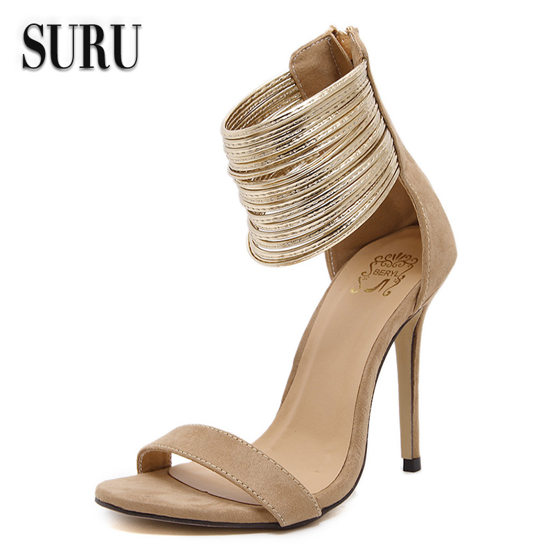 SURU New Style 2017 Summer Shoes Chaussure Femme Women Ankle Wrap Sandals  Beige Dress Shoes Bridal Cover Heel Sandals BLR590-9<br><br>Aliexpress