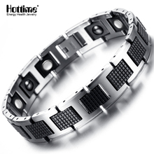New Tungsten Men's Health Energy Magnetic Stone Luxury Black Plated Germanium Bracelet Men Bracelets Bangles Jewelry 8.2 inch(China)