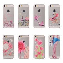 Luxuriant High-heeled shoes Bags Jewelry Flowers Case For iPhone 5 5S SE Sexy Girl tower TPU Silicone Covers For iPhone 5 5s se