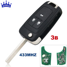 Flip Folding Remote Key 3 Button For Chevrolet Cruze Aveo Orlando 433MHZ ID46 Chip HU100 Uncut Blade