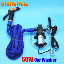 12V 60W New Car Washer Washing Device Machine, High Pressure Garden Household Washer Sprayer Cleaner With 25FT Expandable Hose