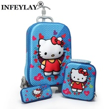 3D stereo trolley case Cute hello kitty anime kids Travel suitcase girl cartoon luggage EVA pencil box children Christmas gift(China)