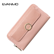 2017 New Leather Zipper Folding Wallet Cowhide Quality Wallet Coin Pocket Credit Card Holder Ladies Clutch Bag Female Party Bag(China)