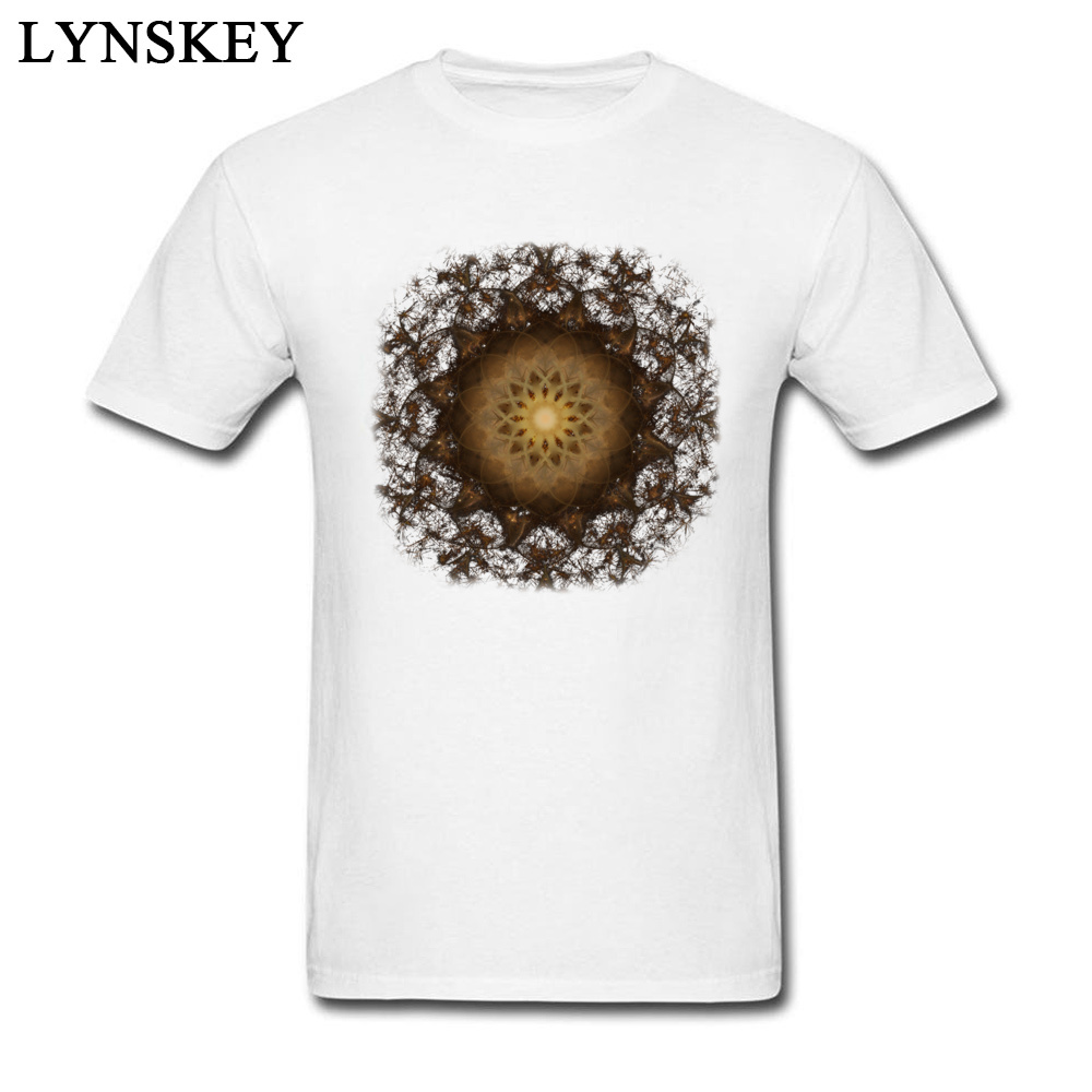 100% Cotton Tops Tees Copper Mandala for Boys Printed On T-Shirt Casual Prevailing Round Neck Short Sleeve Sweatshirts Copper Mandala white