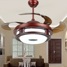 "Chinese style  110-240v 36W*2 variable frequency electric motor ultra-quiet 107cm (42"") hidden blade wooden ceiling fan lights"