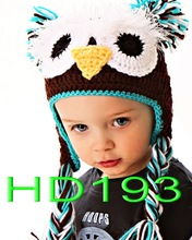 free shipping, Lovely handmade Crochet owl hat , Baby Christmas Hat , 100% cotton Halloween black owl baby caps Photo props(China)
