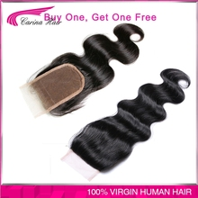 Buy one Get one free 4*4 Lace Closure Brazilian Body Wave Bleached Knots Natural Color lace top Closure with Baby hair free ship