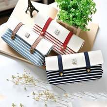 Striped Navy Style Pencil Case School Pencil Bag for Boys&Girls Pencil Cases Office Supplies Pens Pencils Storage bags(China)