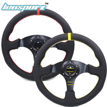 "Leosport-high quality 13"" (330mm) For OMP Racing Steering Wheel leather yellow or red line game flat Steering Wheel(China)"