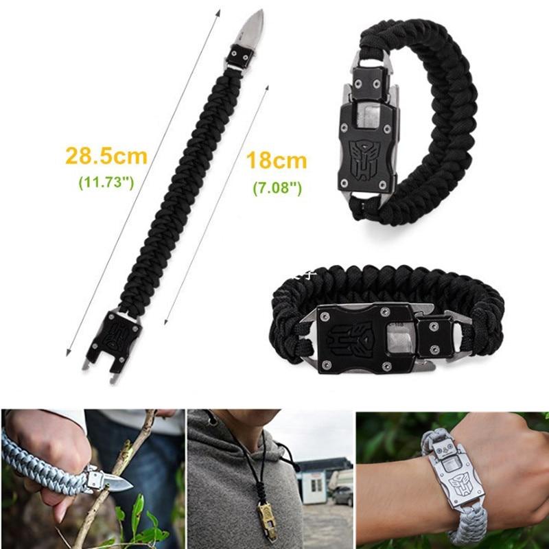 EDC outdoor survival Paracord Multitool Defensive Baton Camp Equipment Bracelet With Folding knife Multi functional self-defense bracelet survival tool (4)_