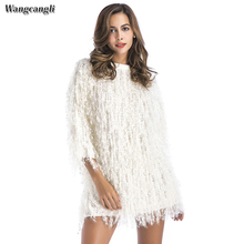 Wangcangli 2018 autumn and winter O-neck solid dress style Christmas party hand knitting faux fur creamy white free size dress(China)