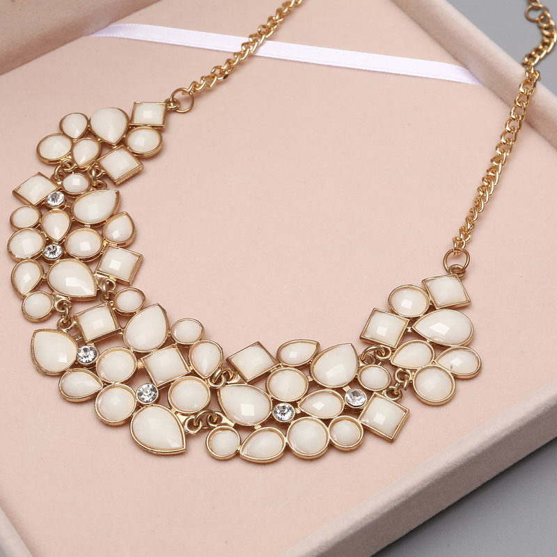 MINHIN New Popular Colors Multicolor Big Pendant Clavicle Chain Necklace Women's Delicate Banquet Jewelry 9