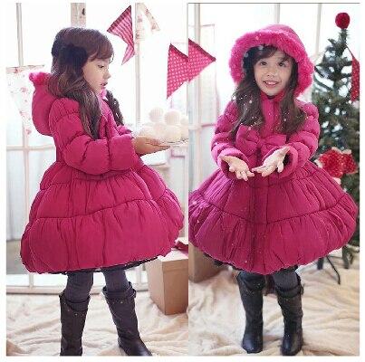 2015 new childrens fashion parkas outerwear Christmas baby girl overcoat winter thick warm princess bow-knot coat kid JacketsÎäåæäà è àêñåññóàðû<br><br>