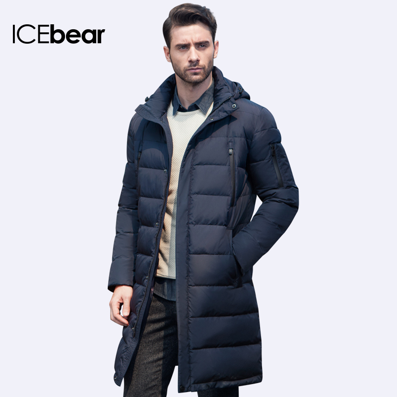 ICEbear 2017 New Clothing Jackets Business Long Thick Winter Coat Men Solid Parka Fashion Overcoat Outerwear 16M298D(China)