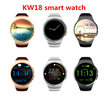 HOT New Product KW18 Smart Watch Android/IOS Digital smartwatch Bluetooth Inteligente SIM Round Heart Rate Monitor Watch Clock