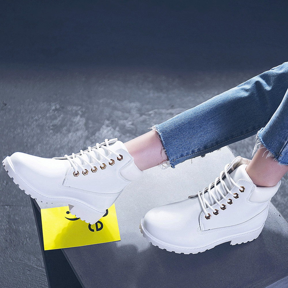 Szyadeou Women Ladies Round Toe Lace-up Faux Boots Ankle Casual Martin Shoes botas mujer invierno kozaki damskie schoenen 30 17