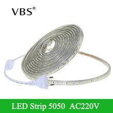 5050 LED Strip Light tira led AC220V 60LED/m Fita Led IP67 Waterproof 1m-25m Outdoor Garden diode tape Rope Light+EU Power Plug(China)
