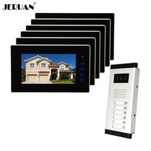JERUAN Brand New Apartment Intercom 7 inch LCD Touchkey Video Door Phone Doorbell intercom System for 6 house 1V6 FREE SHIPPING