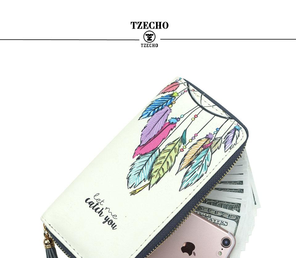 HTB1n.5uRFXXXXbmXFXXq6xXFXXXN - TZECHO Women Wallets PU Print Dream Catcher Carton Long Ladies Purses Coin Pocket Card Holder Clutch Zipper Wallets for Women
