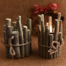 Christmas Decorations Retro Candlestick Ornaments Home Furnishing Candle Tube Props Pen Wood Crafts Kerst Decoratie Arvore Natal(China)