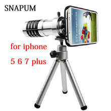 SNAPUM mobile phone Cellphone 12x Zoom optical Telescope telephoto Lens For Apple iPhone 5 5s SE 6 6s 7 8 plus samsung S7 S8(China)
