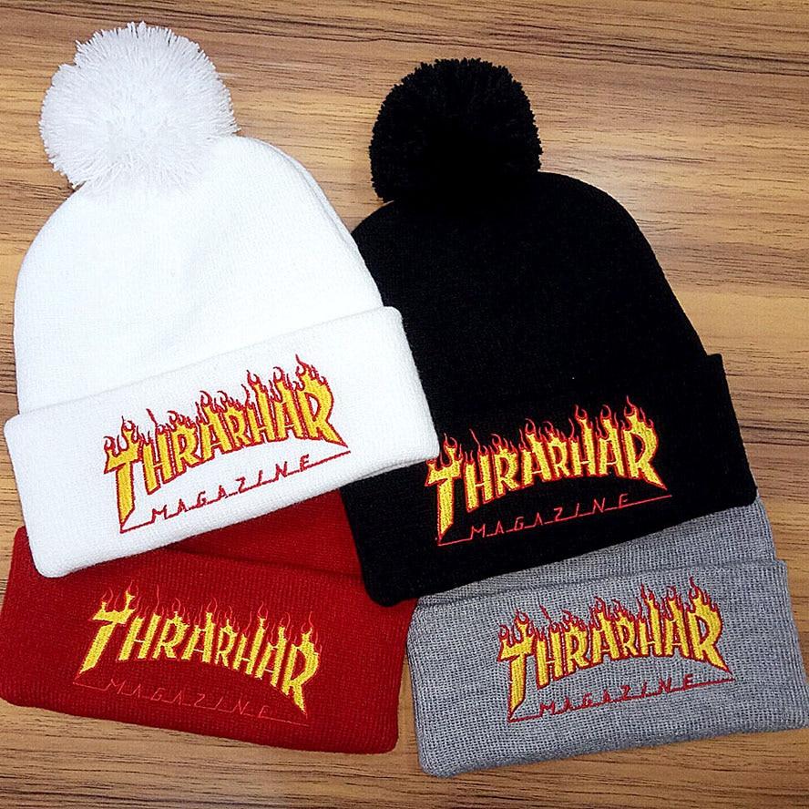 New Pom Pom Thrasher Beanies For Men And Women Knit Winter Warm Fur Pompom Hat Outdoor Sport Ski SkulliesÎäåæäà è àêñåññóàðû<br><br><br>Aliexpress