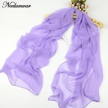 hot selling Spring and Autumn Georgette long scarves multicolor thin simple solid color scarf chiffon shawl(China)