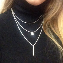 N672 Exo Collares 2017 Bijoux Sequins Multilayer Metal Strip Long Necklaces For Women Jewelry Gift Girl One Direction HOT SALE