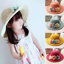2016 Korean Spring summer Handmade flowers Children straw hat baby girls Beach Hats foldable kids sun hat