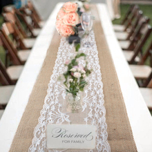Elegant Jute Table Runner Vintage Burlap Lace Hessian Table Cloth Purple Talble runners Natural Country Party Wedding Decoration
