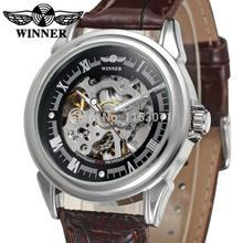 WRG8022M3S7  Latest Winner Automatic skeleton men  with gift box dress watch brown leather strap factory company free shipping