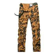 Army green Military Cargo Pants Men 100% Cotton Loose Camouflage Soldier Pockets Design Pantalon New 2017 aeronautica(China)
