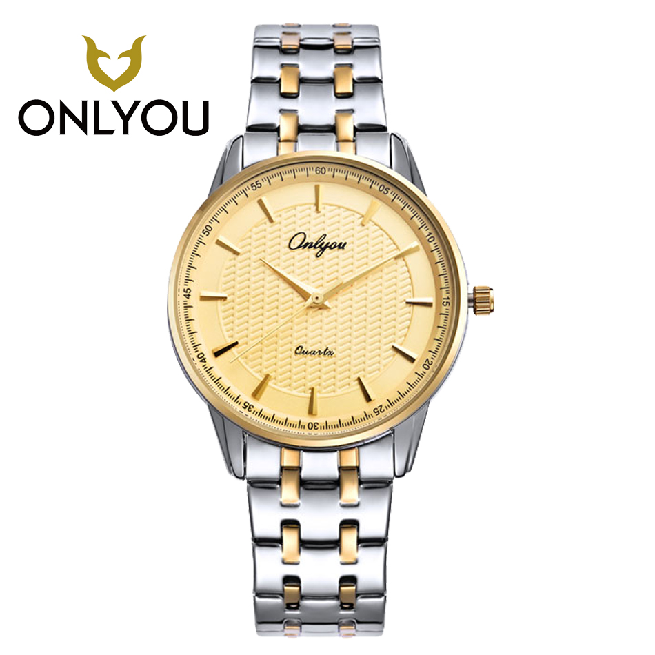 ONLYOU Gold Men Watches Luxury Lovers Watch Ladies Watches Stainless Steel Strap Wristwatch Quartz Watches reloj mujer hombre<br>