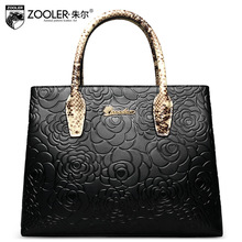 ZOOLER Women Genuine Leather Handbag Ol Ladies Luxury Handbags Women Bags Designer Embossed Shoulder Bag Female Floral Tote Bags(China)