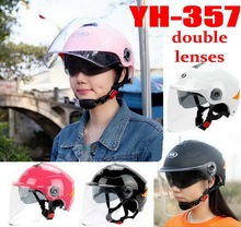 2016 new SUMMER YOHE dual lens Half Face motorcycle helmet ABS motorbike electric bicycle helmets can Reflective night YH357A