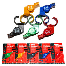 Free shipping 12pcs/lot Colorful Fox 40 Whistle With Finger Blister Packing